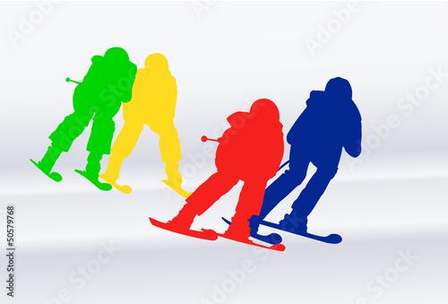 Obraz na plátně Skicross Weltcup bunt