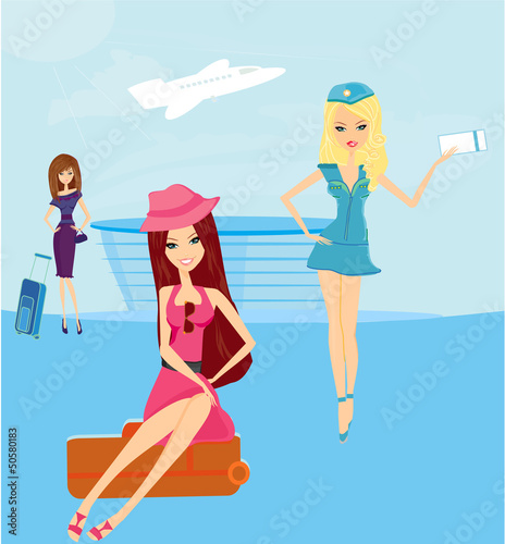 Poster Superheroes beauty travel girls in the airport