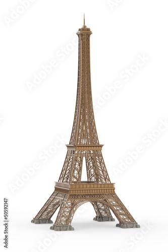 Plagát  Eiffel Tower Isolated on White Background