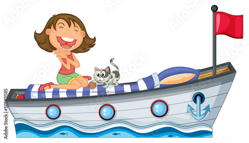Printed kitchen splashbacks Cats A boat with a girl and a cat