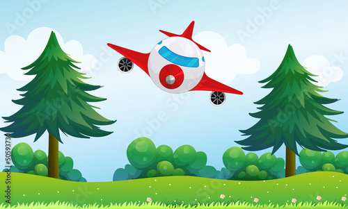 Autocollant pour porte Avion, ballon An airplane above the hills