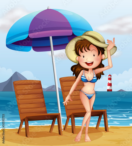Canvas Prints River, lake A woman wearing a stripe swimsuit at the beach