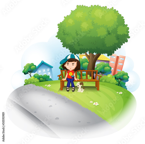 Printed kitchen splashbacks Dogs A girl sitting at the wooden bench near the big tree