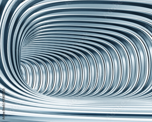 abstract metallic tunnel as futuristic background