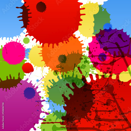 Abstract paint color splashes detailed background illustration - 50606746