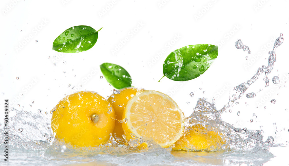 Fototapeta Lemon with water splash isolated on white