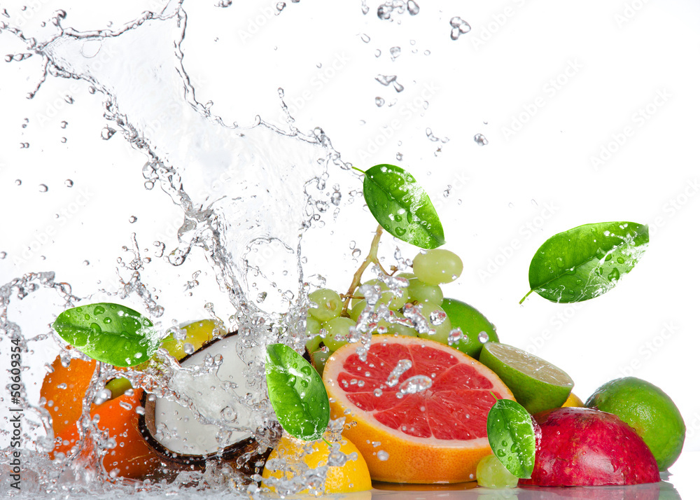 Fototapety, obrazy: Fresh fruits with water splash isolated on white