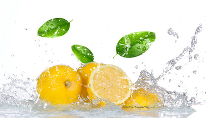 Panel SzklanyLemon with water splash isolated on white