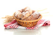 Taste croissants in basket isolated on white.