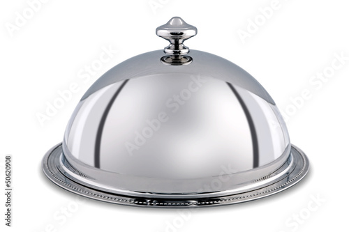 Foto Silver Dome or Cloche isolated with clipping path.
