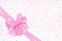 Pink Polka Dot Bow And Ribbons Gift Card