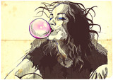 Fototapeta Teenage - young woman blowing bubble from chewing gum