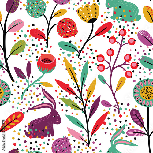 Cotton fabric Seamless pattern with rabbits