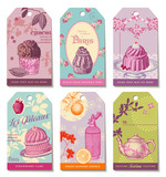 set of 6 colorful food-themed tags