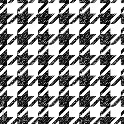 Photo  Houndstooth black and white classic seamless pattern, vector