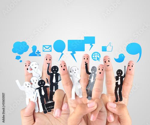 Fotografie, Obraz  smile fingers for  symbol of social network