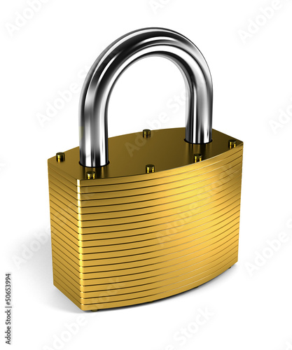Photographie  Padlock over white background