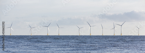 Leinwand Poster Panoramic Off Shore Wind Farm