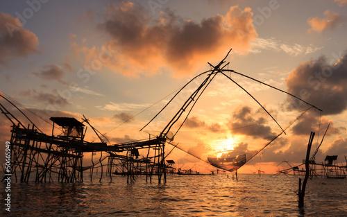 Sunrise on fishing tools
