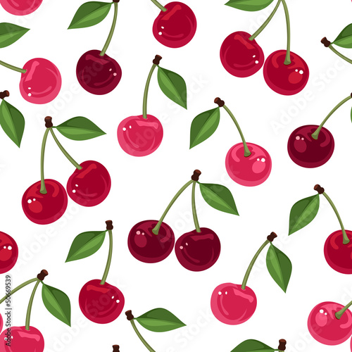 Stampa su Tela Seamless pattern with cherry. Vector illustration.