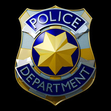 Shiny Golden And Silver Police Badge 3d