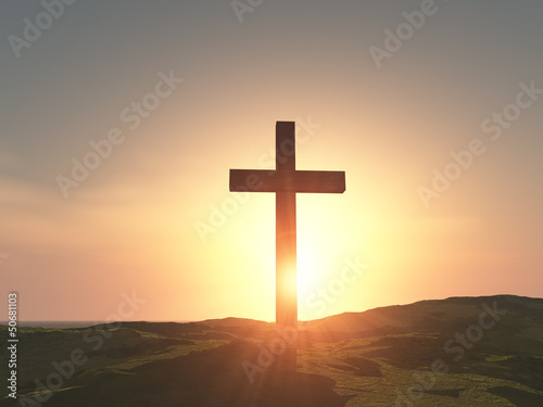 Fototapeta single wooden cross