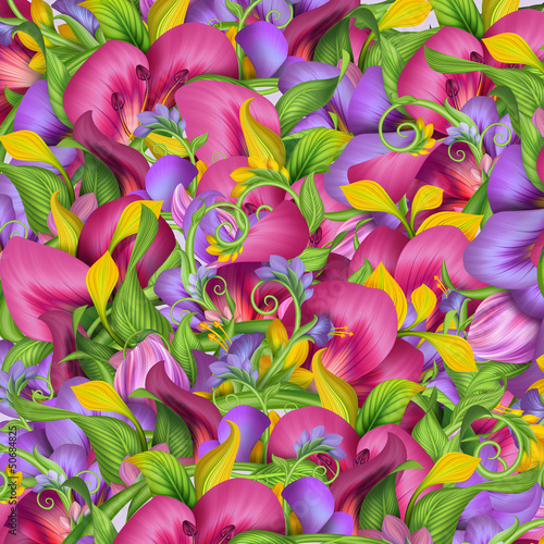 abstract exotic tropical flower background - 50684825