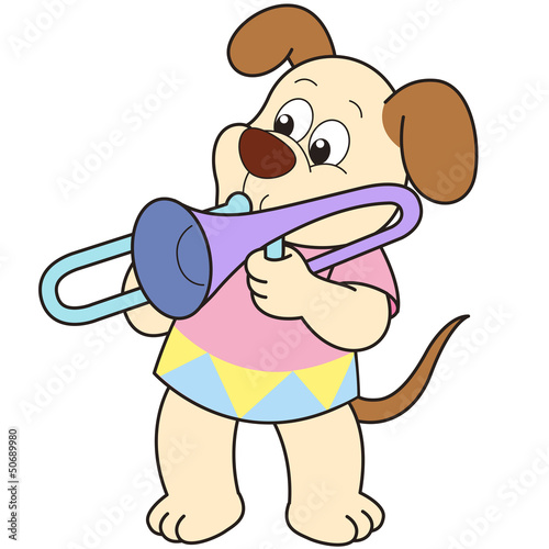 cartoon dog playing a trombone