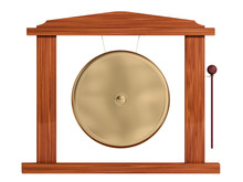 Gong On A White Background