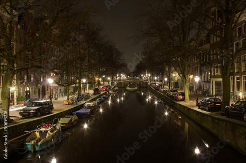 Photo  Amsterdam Gracht at night
