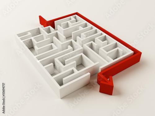 Gelöstes Labyrinth-Puzzle Fototapete