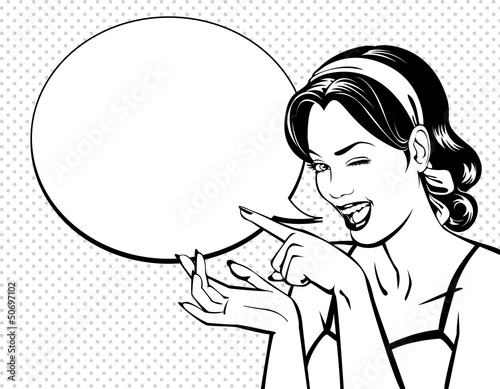 Deurstickers Comics Vintage beautiful woman winking