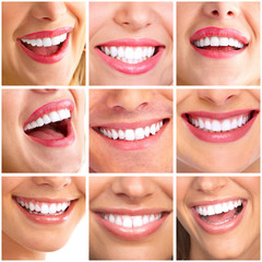 Panel Szklany Podświetlane Do dentysty Beautiful woman smile collage.