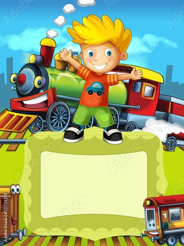 Recess Fitting Cars The locomotive - the label with kid - illustration