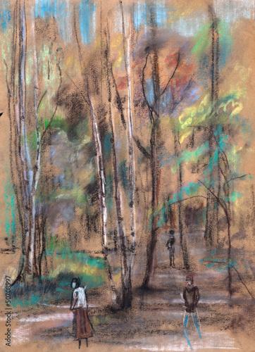 Nowoczesny obraz na płótnie In the afternoon in park