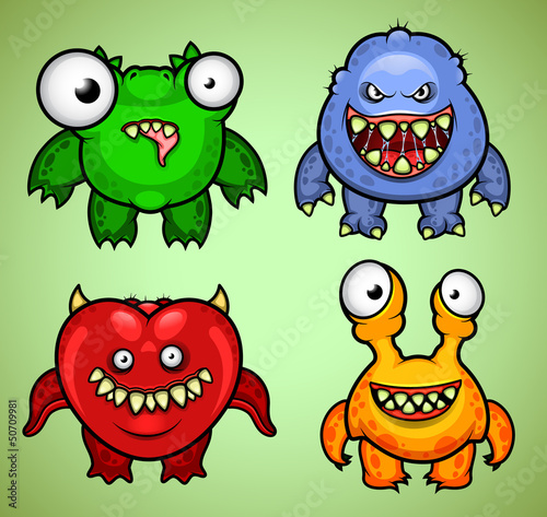 Deurstickers Set of four funny monsters variation 3