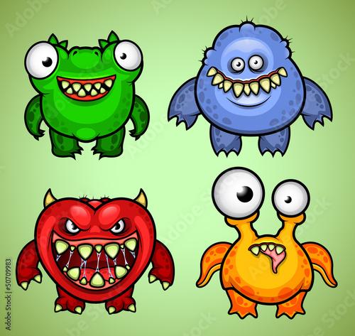 Aluminium Prints Creatures Set of four funny monsters variation 1