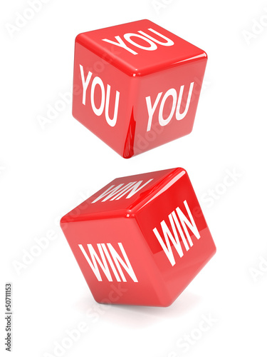 "Photo  Red dice falling spell ""YOU WIN"""