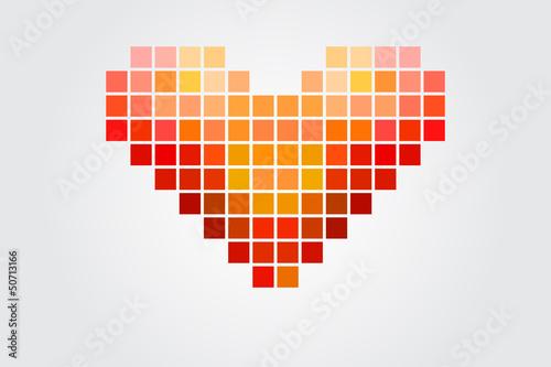 Foto op Aluminium Pixel Heart Puzzle
