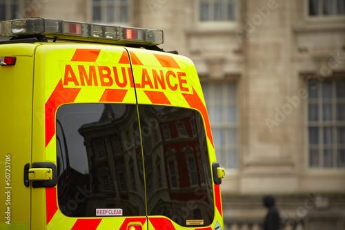 Door of the emergency ambulance car Canvas Print