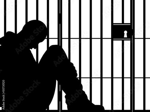 Fotografia, Obraz Ilustração - Homem na prisão