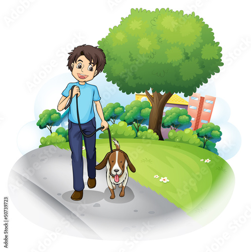 Poster Dogs A boy with a dog walking along the street