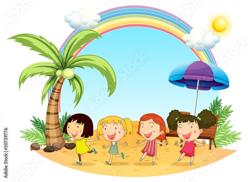 In de dag Regenboog Young women at the beach