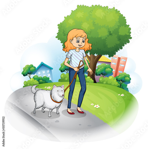 Foto op Canvas Honden A lady strolling with her dog