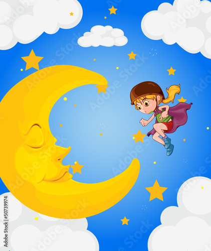 Poster Superheroes A girl near the sleeping moon