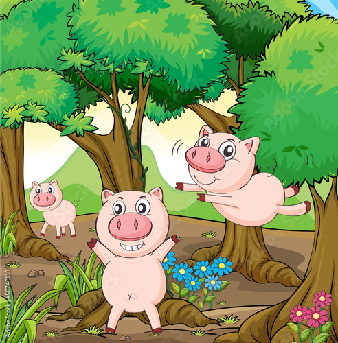 Tuinposter Boerderij Three pigs playing in the forest
