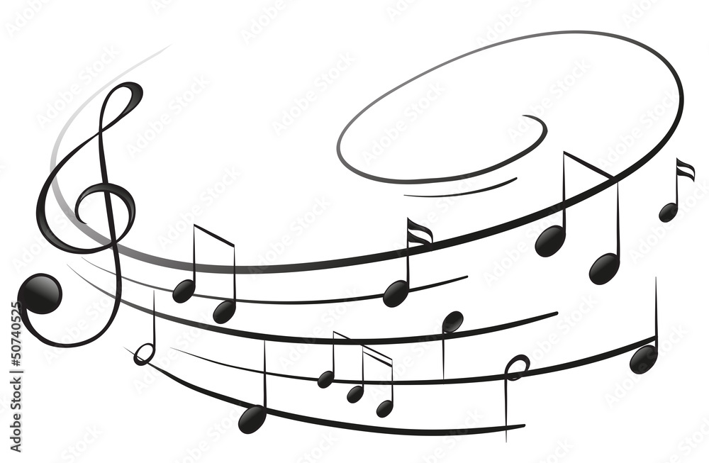 Fototapety, obrazy: The musical notes with the G-clef