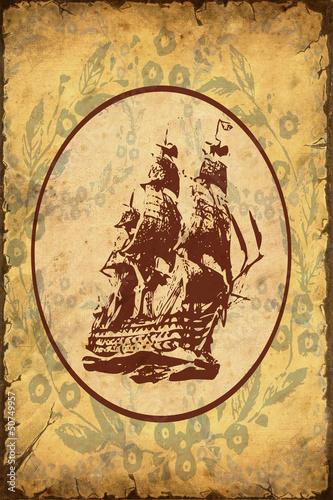 Foto op Plexiglas Vintage Poster Retroplakat - Altes Schiff