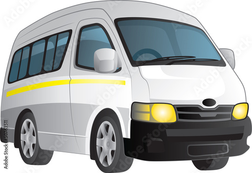 Fotografie, Obraz  Vector cartoon of a white minibus taxi