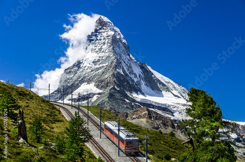 Gornergrat train and Matterhorn. Switzerland Wallpaper Mural